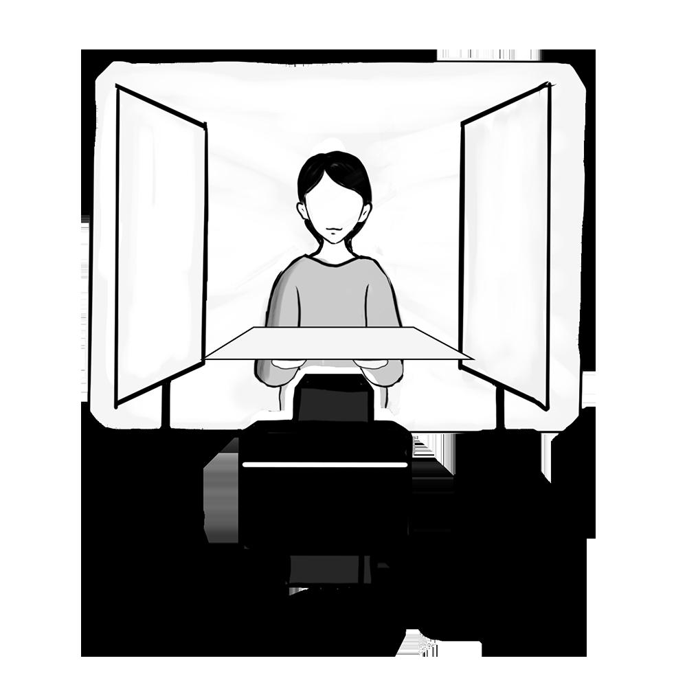 背景に紙を貼りレフ版を設置した症例写真の撮影環境イメージ